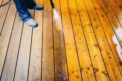Deck staining process by Decks Unlimited in Louisville, KY.