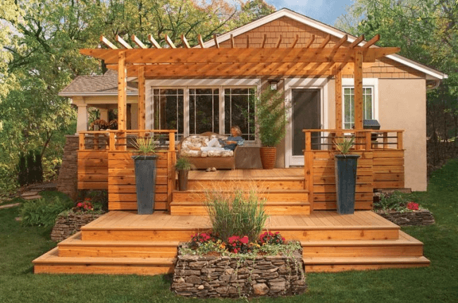 Small deck with a pergola design in Louisville, KY.
