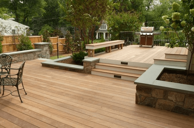 Beautiful wood and stone deck in Louisville, KY.