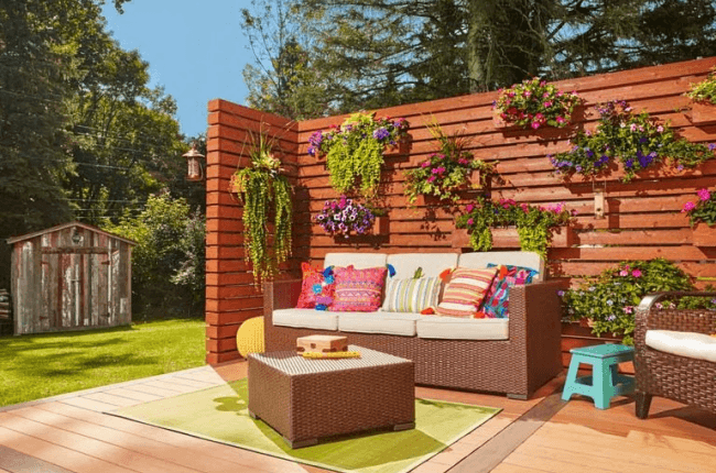 Living wall with movable planters deck design ideas for homeowners in Louisville, KY.